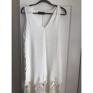 Karen Zambos, v neck lace trim dress, L